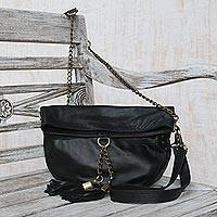 Leather shoulder bag, 'Stylish Lady' - Charcoal Grey Leather Shoulder Bag from Indonesia