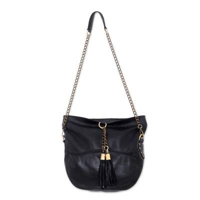 Charcoal Grey Leather Shoulder Bag from Indonesia