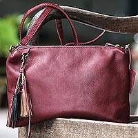 Leather sling, 'Supple Maroon' - Handcrafted Leather Sling in Maroon from Indonesia