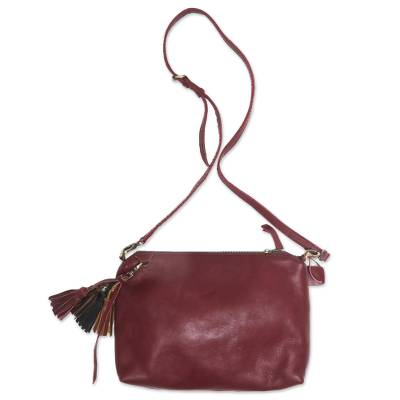 Handcrafted Leather Sling in Maroon from Indonesia