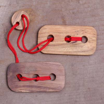 Teak wood puzzle, Red Omed-Omedan