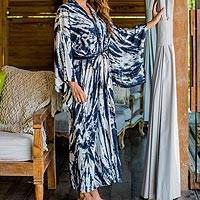 Tie-dyed rayon robe, 'Nighttime Sky' - Women's Kimono Style Navy Blue and Cream Tie-dye Rayon Robe