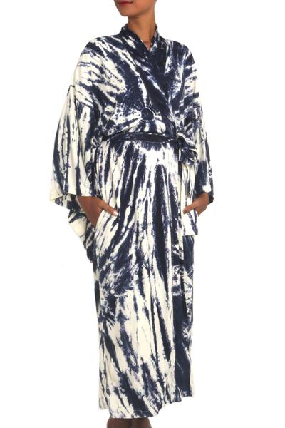 Tie-dyed rayon robe, 'Nighttime Sky' - Women's Kimono Style Navy Blue and Cream Tie-dye Rayon Robe