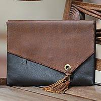 Leather clutch, 'Losari Sands' - Black and Brown Leather Clutch with Tassel and Zipper Pocket