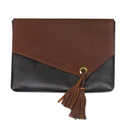 Novica Leather wristlet bag, Empire