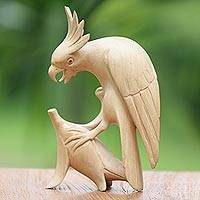 Wood statuette, 'Fierce Cockatoo'