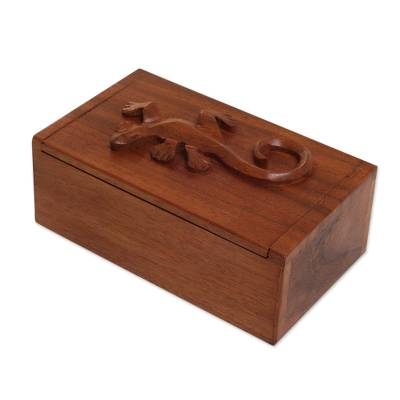 Decorative wood box, 'Forest Gecko' - Hand Carved Suar Wood Box with Gecko Lid from Bali