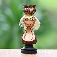Wood statuette, 'Grandma with Water Bowl' - Hand-Carved Wood Statuette of an Old Woman from Bali