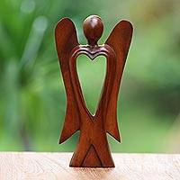 Wood figurine, 'Heart of an Angel' - Hand Carved Wood Figurine of an Angel with Heart Feature