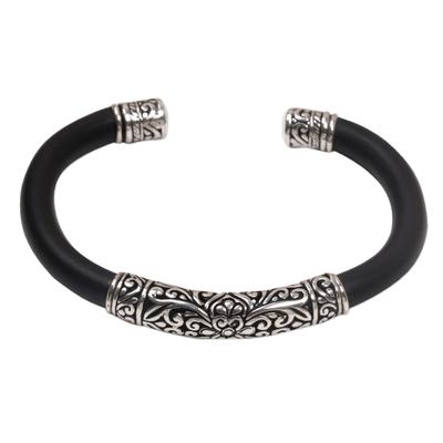 Sterling silver cuff bracelet, 'Night Majesty' - Sterling Silver and Black Rubber Cuff Bracelet from Bali