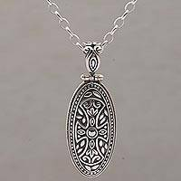 Sterling silver pendant necklace, 'Shield of Bravery'