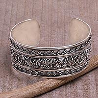 Sterling silver cuff bracelet, 'Swirling Temple' - Sterling Silver Swirl Motif Cuff Bracelet from Bali