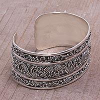 Sterling silver cuff bracelet, 'Temple Vine' - Intricate Sterling Silver Cuff Bracelet from Bali