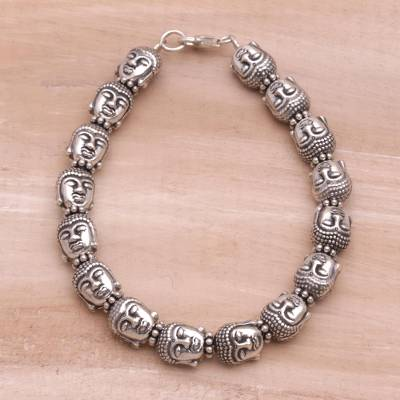 Sterling silver beaded bracelet, 'Buddha Guardians' - Sterling Silver Buddha Head Beaded Bracelet from Bali
