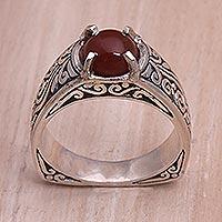Carnelian single stone ring, 'Uluwatu Temple' - Carnelian and Sterling Silver Single Stone Ring from Bali
