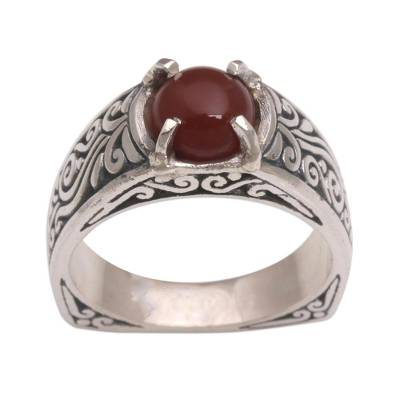 Carnelian and Sterling Silver Single Stone Ring from Bali