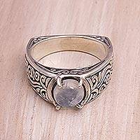 Rainbow moonstone single stone ring, 'Uluwatu Temple' - Rainbow Moonstone and Sterling Silver Ring from Bali