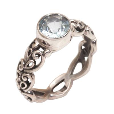 Blue topaz single-stone ring, 'Temple Creeper' - Blue Topaz and Sterling Silver Single-Stone Ring from Bali