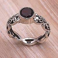 Garnet single stone ring, 'Temple Creeper'