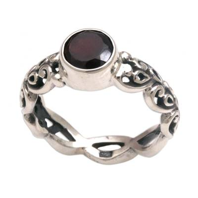 Garnet single stone ring, 'Temple Creeper' - Garnet and Sterling Silver Single Stone Ring from Bali