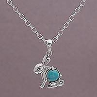 Turquoise pendant necklace, 'Blue Hare' - Turquoise and Sterling Silver Rabbit Necklace from Bali