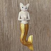 Wood wall sculpture, 'Mermaid Kitty in White' - Mermaid Cat Wall Sculpture in White and Gold from Bali