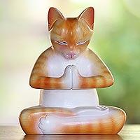Wood statuette, 'Meditating Kitty in Orange' - Wood Meditating Cat Statuette in Orange and White from Bali