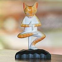 Wood statuette, 'Yoga Kitty in Orange' - Meditating Wood Cat Statuette in Orange and White from Bali