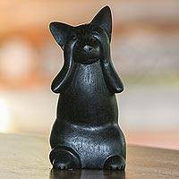 Wood sculpture, 'Kitty Sees No Evil' - Hand-Carved Black Suar Wood Cat Sculpture from Bali