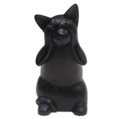 Hand-Carved Black Suar Wood Cat Sculpture from Bali