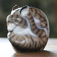 Wood sculpture, 'Virtuous Kitty' - Curled Wood Cat Sculpture in Grey and White from Bali
