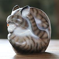 Wood sculpture, 'Virtuous Kitty'