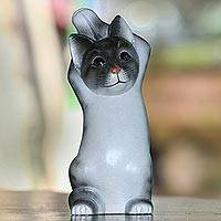 Wood sculpture, 'Skyward Paws' - Whimsical Wood Cat Sculpture in Grey and White from Bali
