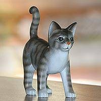 Wood sculpture, 'Curious Kitten' - Standing Wood Cat Sculpture in Grey and White from Bali