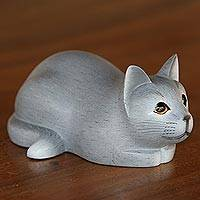 Wood sculpture, 'Resting Kitty in Grey' - Hand-Carved Resting Wood Cat Sculpture in Grey from Bali