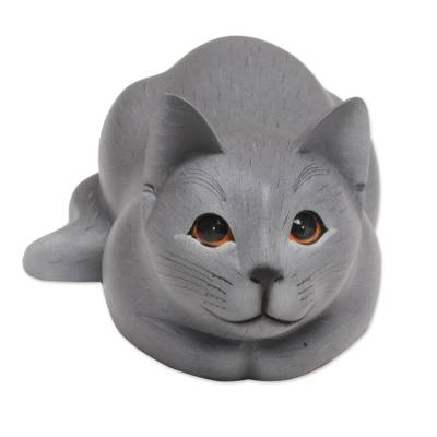 Hand-Carved Resting Wood Cat Sculpture in Grey from Bali
