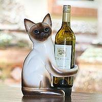 Wood wine holder, 'Siamese Cat Hug' - Handcrafted Wood Siamese Cat Wine Holder from Bali