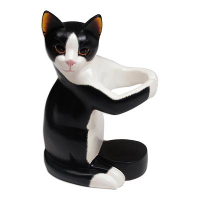 Hand Carved Black and White Cat Figurine Wine Holder