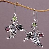 Garnet and peridot dangle earrings, 'Leafy Colors' - Garnet and Peridot Leaf Dangle Earrings from Bali