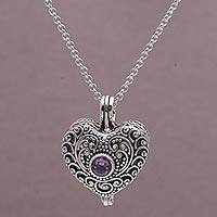 Amethyst heart locket necklace, 'Solitary Love'