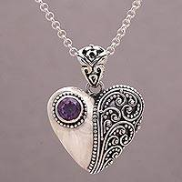 Amethyst pendant necklace, 'Swirling Passion'