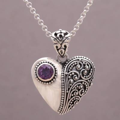 Amethyst pendant necklace, 'Swirling Passion' - Amethyst and Sterling Silver Heart Shaped Necklace