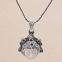 Amethyst pendant necklace, 'Diamond Warrior' - Amethyst and Sterling Silver Face Necklace from Bali