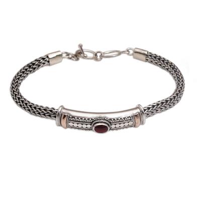 Gold accent garnet pendant bracelet, 'Center of Hope' - Gold Accent 925 Silver Garnet Pendant Bracelet from Bali