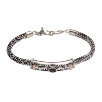 Gold accent amethyst pendant bracelet, 'Center of Hope' - Gold Accent 925 Silver Amethyst Pendant Bracelet form Bali