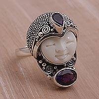 Amethyst cocktail ring, 'Moonlight Prince' - Amethyst and 925 Silver Face Shaped Ring from Bali
