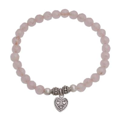Rose quartz beaded bracelet, 'Sentimental Charm' - Rose Quartz 925 Silver Heart Charm Bracelet from Bali