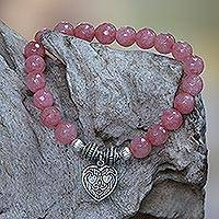Agate beaded stretch bracelet, 'Sentimental Charm' - Pink Agate and Heart Charm Beaded Bracelet from Bali