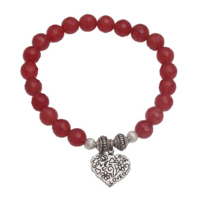 Red Agate and Heart Charm Beaded Bracelet from Bali