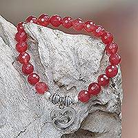 Agate beaded stretch bracelet, 'Love is Forever' - Rosy Agate and Heart Charm Beaded Bracelet from Bali